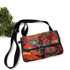 Fossil Small Crossbody Floral Orange Blue Teal Sho